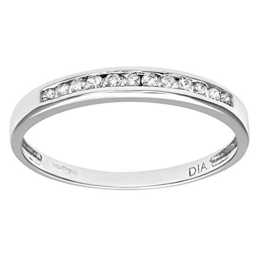 Naava PR08924W(O) - Anillo de mujer de oro blanco (9k) con 12 diamantes (talla: 15.5)