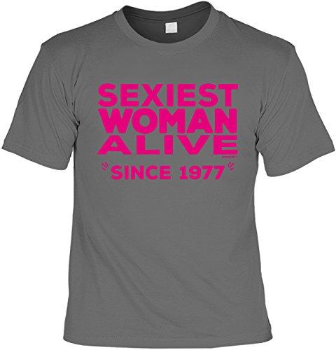 Cooles T-Shirt zum 40. Geburtstag Sexiest Woman Alive Since 1977 Geschenk 40 Geburtstag 40 Jahre Geburtstagsgeschenk 40-jähriger Geschenk Frauen Anthrazit