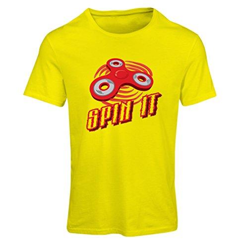 """T-shirt femme Spin It - pour qui aime jouer au """"Fidget Spinner Jouet amusant"""" Jaune Multicolore"""