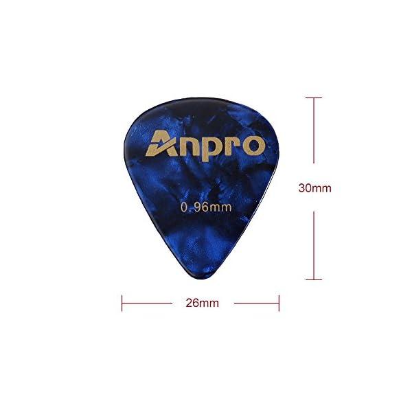 Anpro 12 Pezzi Plettri per Chitarra 0.46mm 0.71mm 0.96mm con 1 Portaplettri Guitar Pick Holder per Chitarre