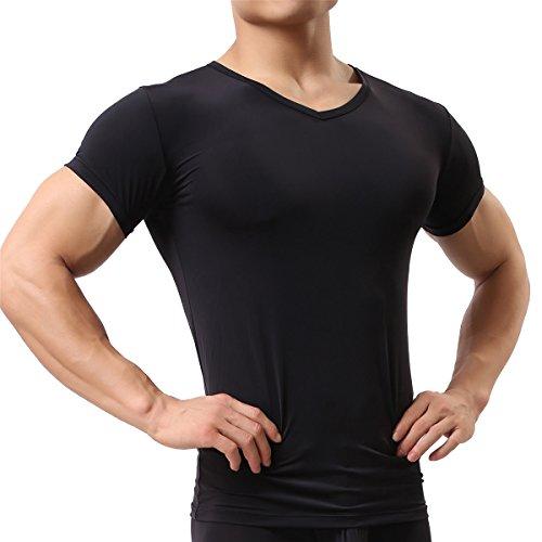 Herren Unterhemd aus Mesh Transparent Shirt Stretch T-shirt Unterwäsche Reizwäsche (L, Black)