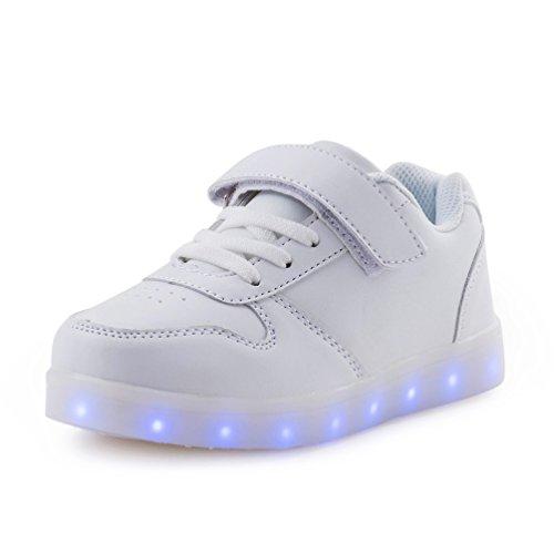 t Schuhe Sneakers mit USB Einem Geschenk der Kinder Jungen Mädchen Weihnachten Neujahr (Weiß,31) (Halloween-85)