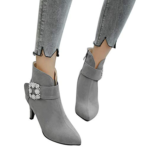 OSYARD Damen Stiefeletten Chelsea Booties Party Hochzeit Strass s Gummistiefel, Frauen Pointed Toe Schuhe Schnalle High Heel Shoes Wildleder Stiefel Zipper Ankle Boots(230/37, Grau) Zipper Jump Boot