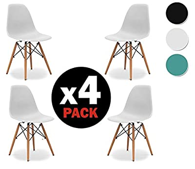 due-home (Nordik) – Pack 4 Chairs Tower, Replica Eames Chair Finished in Beech, Measures: 47 cm Width x 56 cm Depth x 81 cm Height - cheap UK light shop.