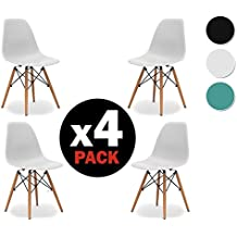 Duehome Pack de 4 sillas Tower Wood, réplica de Eams, 47 x 56 x 81 cm, blanco
