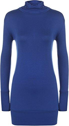 WearAll - Grande taille uni haut top avec col roulé et manches longues - Hauts - Femmes - Tailles 44 à 54 Bleu royal