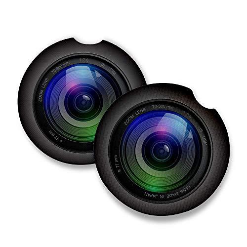 Kameralinse - Auto Untersetzer für Getränke 2er Set - Perfektes Autozubehör mit saugfähigen Untersetzern Auto-Untersetzer, 6,4 cm, mit Gummi-Rückseite. -