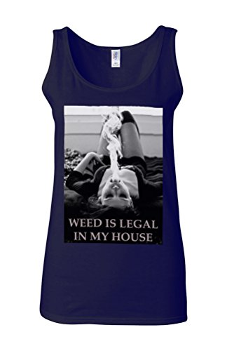 Weed Is Legal In My House High Novelty White Femme Women Tricot de Corps Tank Top Vest Bleu Foncé
