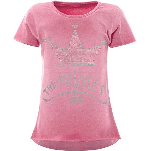 BEZLIT Mädchen Wende-Pailletten T-Shirt Krönchen-Motiv Kurzarm 22494 Rosa Größe 116
