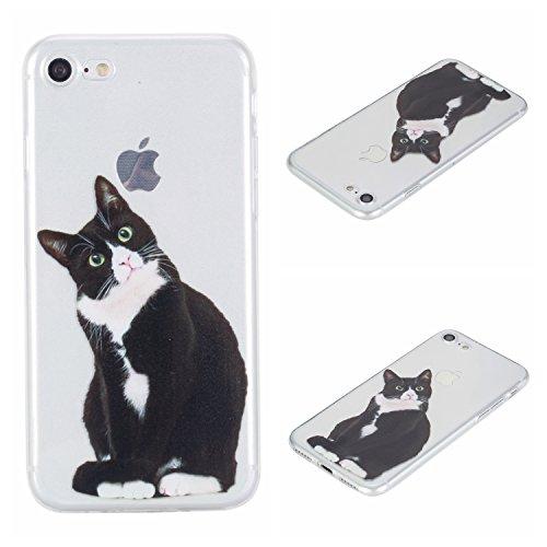 Voguecase® Per Apple iPhone 7 4.7, Custodia Silicone Morbido Flessibile TPU Custodia Case Cover Protettivo Skin Caso (unicorno 02) Con Stilo Penna nero gatto 04