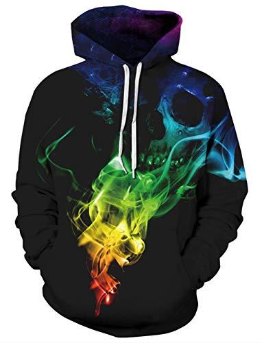 Idgreatim Herren Kapuzen Cool 3D Himmel Hoodies Kapuzen Sweater Swearshirt -