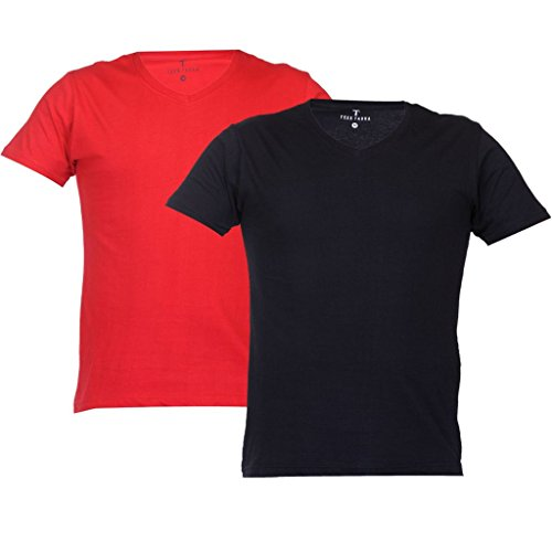 Teestadka Men's Cotton Plain V Neck Tshirts for Men Value Pack Combo Offers for Men in Multicolor Pack of 2