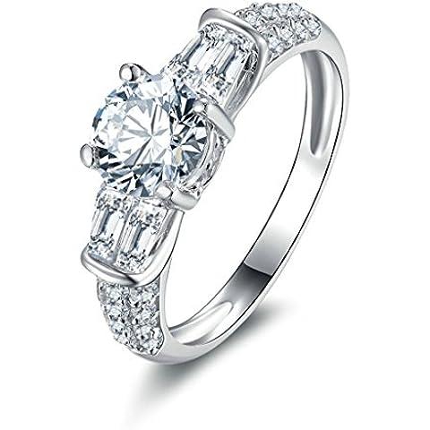 (Personalizzati Anelli)Adisaer Anelli Donna Argento 925 Anello Fidanzamento Incisione Gratuita Ovale Doppio Anello Diamante Rotondo