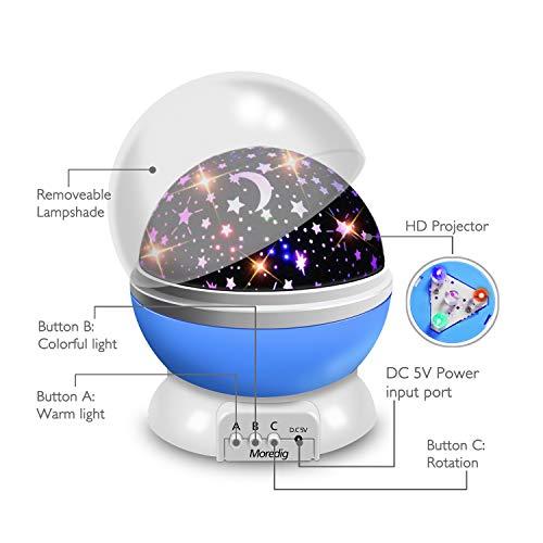 Nachtlicht Sternenhimmel Projektor Lampe - Baby Schlummerleucht 360° Rotation LED Nachtlampe mit 8 Farbige Lichter Sterneprojektion - Sterneprojektion, Sternenhimmel, Schlummerleucht, Schlafzimmer, Nachtlicht, Nachtlampe, Lichter, Lampe, Kinderzimmer, einschlafhilfe kind, blau, Baby