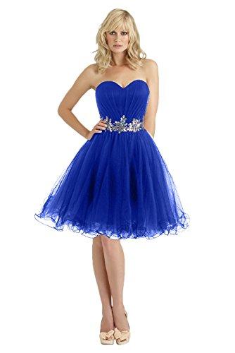 Promgirl House Damen Herz-Ausschnitt Prinzessin Strass Heimkehr Kleider Ballkleider Abschluss Feier Kurz-36 Royalblau