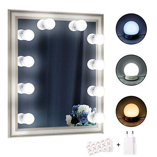 Spiegel Beleuchtung, EEIEER Hollywood-Stil LED Spiegelleuchte,Spiegellampe,Make-up Licht,schminklicht Spiegellicht Set 10 Stücke dimmbares 3 color für Kosmetikspiegel/Schminkspiegel/Frisierkommode