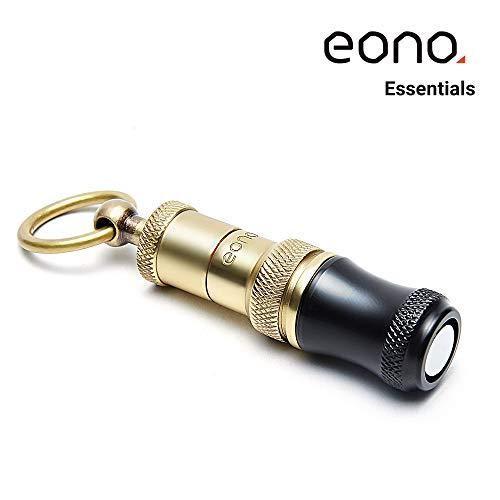 Eono Essentials Zigarrenbohrer Kupfer graviert, Herausziehbar und schraubbar, Schneide in 2 Größen, Schwarz mit Gold, Rauchzubehör (7 mm und  9mm) mit Befestigungsring