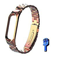 OLLIVAN for Xiaomi Mi Band 5 Strap, Mi Band 5 Metal Wristbands, Replacement Straps Bracelet Spare Wristband Accessories Adjustable Wrist Straps for Xiaomi Mi Band 5 (No Tracker) (Rose Gold)