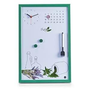 zeller 11548 tableau m mo de cuisine avec horloge vert 45 x 30 cm cuisine maison. Black Bedroom Furniture Sets. Home Design Ideas
