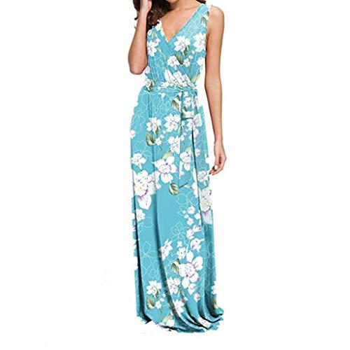 CCOOfhhc Damen Casual Kleid Boho Floral Printed Lange Kleider Wrap V-Ausschnitt Lose Strand Sonnkleid mit Gürtel - Mehrfarbig - Klein Petite Print Wrap