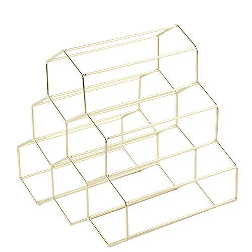 FiedFikt Weinregal, für 6 Flaschen, geometrisches Eisen, freistehend, aus Metall, für die Küche - Eisen-box-board