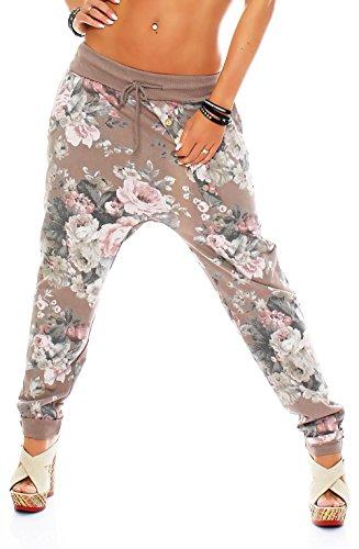Malito Damen Jogginghose mit Flower Print | Sporthose mit Knopfleiste| Baggy Zum Tanzen | Sweatpants - Freizeithose 3304 (Fango) (Blumen-print-hose)