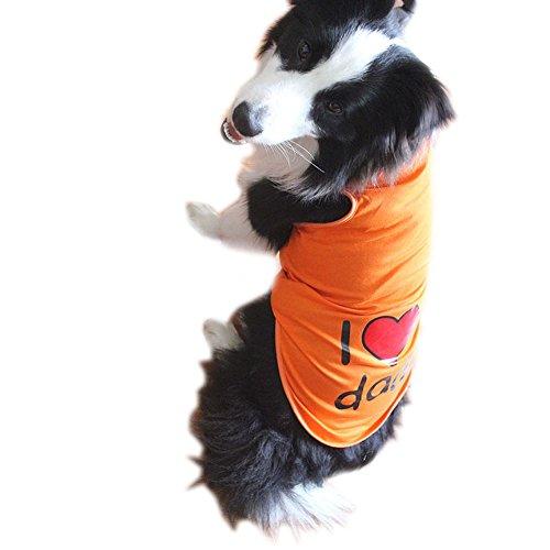 Hund T Shirt Systond Mode Frühling Haustier Hund Weste Shirts Kleidung mit niedlichen Brief Print Kleidung Kostüm Casual Baumwolle T-Shirts Hund Overall für große mittlere ()