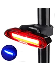 Fahrrad Rücklicht, ThorFire Ultra Hell LED Fahrradlicht Fahrradbeleuchtung Fahrradlampe USB Aufladbar Fahrradrücklicht Fahrradhelme Lichter mit 5 Licht Modi Rot Blau