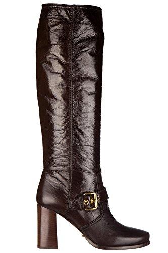 Car Shoe bottes femme à talon en cuir veau shine marron Marron
