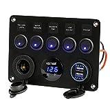 Calistouk - Panel de control de interruptor de 5 brazos LED 12 V/24 V para coche barco marino 2 USB y voltímetro