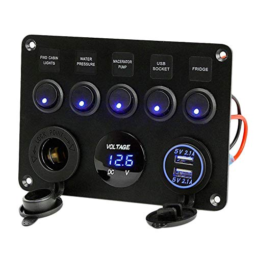 Calistouk - Panel de control de interruptor de 5 brazos LED 12...