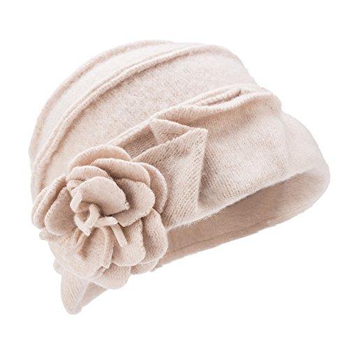 Damenhut, Retro-Stil, 1920er, Gatsby-Stil, 100 % Wolle, Wintermütze A376 Gr. Einheitsgröße, elfenbeinfarben