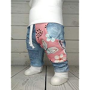 Baby Pumphose mit Tasche Schmetterling Rosa Jeans Look handmade Puschel-Design