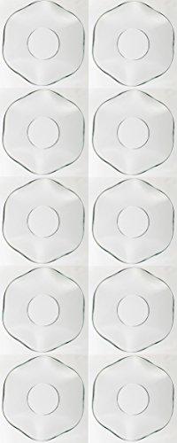 TrendLight 890035-10 Tropfenfänger für Kerzen, 10 Stück gewellt aus Glas, Innendurchmesser 25 mm, klar
