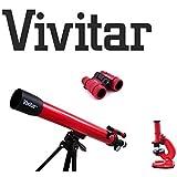 Lunette astronomique 60x/120x, Microscope Set avec accessoires, 4x 30Jumelles pour enfants/enfants Vivitar tel-mic40astronomie Kit
