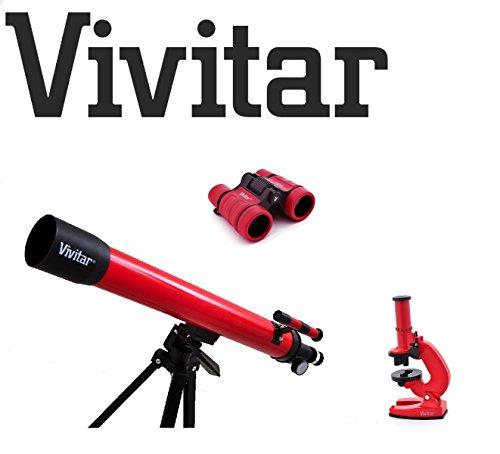 ;-Telescopio rifrattore, 120 x-Set microscopio, con accessori, 4 x 30, per bambini/per Vivitar-TEL MIC40-Kit di astronomia completo