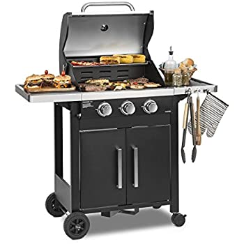 taino basic gasgrill grillwagen bbq 3 edelstahl brenner 1 seitenkocher gas grill t v optional im. Black Bedroom Furniture Sets. Home Design Ideas