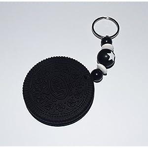 Schlüsselanhänger Keks in schwarz mit Stern - Silikon