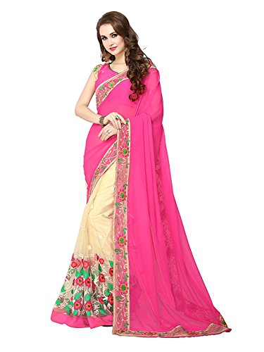 Ambika Sarees Collection Women's With Blouse Piece Saree (106-Pink-001_Pink_One Size)