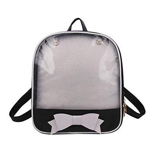 Transparent Frauen Rucksack Niedlich Schleife Ita Taschen Für Schule Mini Schulranzen Für Teenager Mode Bookbag (Schwarzweiss)