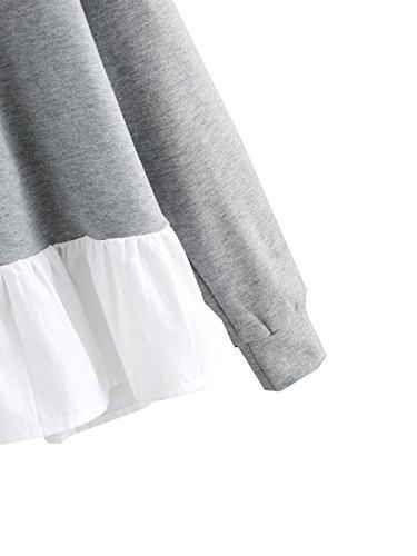 ROMWE Damen Mädchen Baumwolle Hoodie mit Abfallend Rüsche Schleife Kapuze Pullover Grau Perle