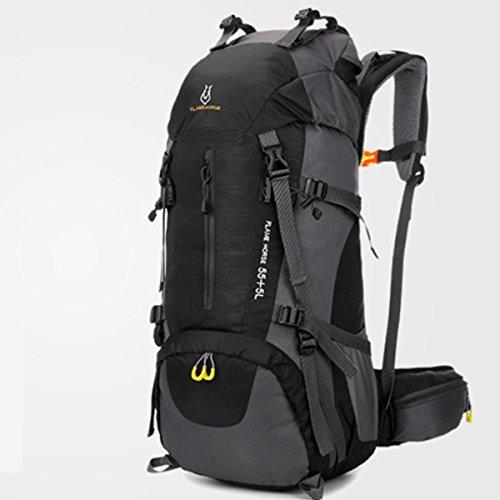 szbtf 60L Rucksack Wasserdicht Outdoor Sport Trekking Camping Pack Bergsteigen Klettern Rucksack mit Regenschutz schwarz