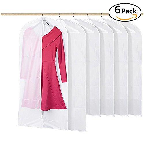 Kleidung Abdeckungen, Cmhoo Packung mit 6 PEVA umweltfreundliche staubdichte Kleidung Abdeckungen feuchtigkeitsgeschützte Kleidung Tasche, volle Reißverschluss Anzug Tasche, waschbar wasserdichte transparente Kleid Kleidung decken x6 (Kleid Abdeckung)