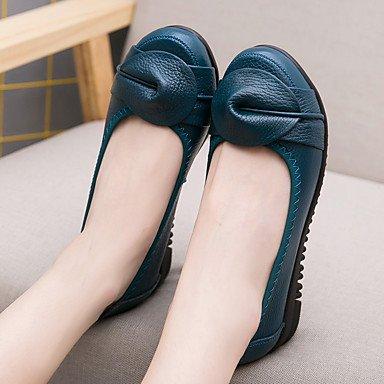 Confortevole ed elegante piatto scarpe donna Appartamenti Primavera Estate Autunno Comfort Casual in pelle tacco piatto Split Joint Verde Nero Altri Black