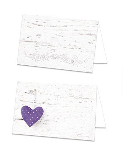 25 Stück lila flieder violett-farbene gepunktete HERZEN Tischkarten Namens-Schilder kleine Namens-Kärtchen Sitzkarten Platzkarten- starkes Papier mit jedem Stift beschreibbar!