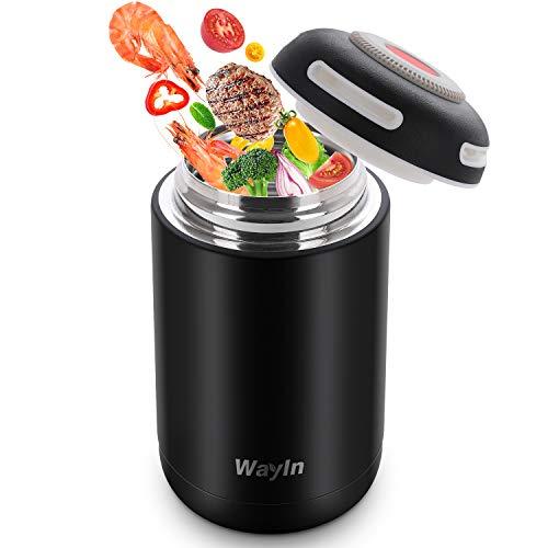 WayIn Thermobehälter für Essen 460ml Isolierbehälter Box Wasserdicht Thermo Lunchbox Edelstahl Isolierbehälter Portabel Speisegefäß für Babynahrung Kinder Erwachsene Essen Suppe (Schwarz)