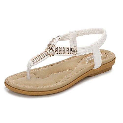 JRenok Damen Sandale Funkelnde Flat Flip Flops Sandalen Komfort Plattform Sandale Sommer Strand Tanga Schuhe für Damen (Stella Wedge Sandal)