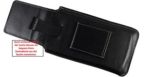 Matador iPhone 5 / 5S / 5C / SE ECHT Leder-Hülle Leder-Case Leder-Tasche Vertikaltasche Slim Design handgenäht mit verdecktem Magnetverschluss und Gürtelschlaufe in Tabacco Braun Schwarz/Black
