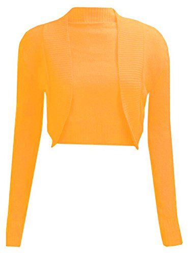 NEW LADIES PLAIN LONG SLEEVE KNITTED BOLERO WOMENS SHRUG CARDIGAN TOP MOUTARDE