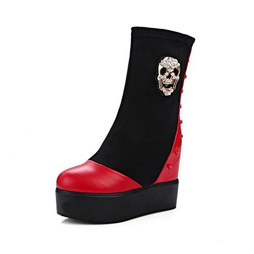 AgooLar Damen Weiches Material Ziehen auf Hoher Absatz Stiefel mit Metalldekoration, Rot, 38